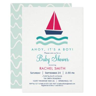 Beach Themed Nautical Sailboat Boy Baby Shower Invitation