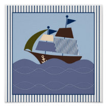 Nautical Sailboat Boys Nursery Wall Art Print