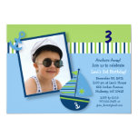 Nautical Sailboat Boys Photo Birthday Invitations