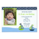 Nautical Sailboat Boys Photo Birthday Invitations