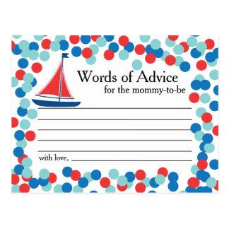 Nautical Sailboat Confetti Words of Advice Card