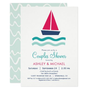Beach Themed Nautical Sailboat Couples Shower Invitation