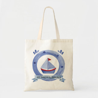 Nautical Sailboat Custom Library Bag for a Boy