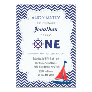 Nautical Sailboat First Birthday Invitation