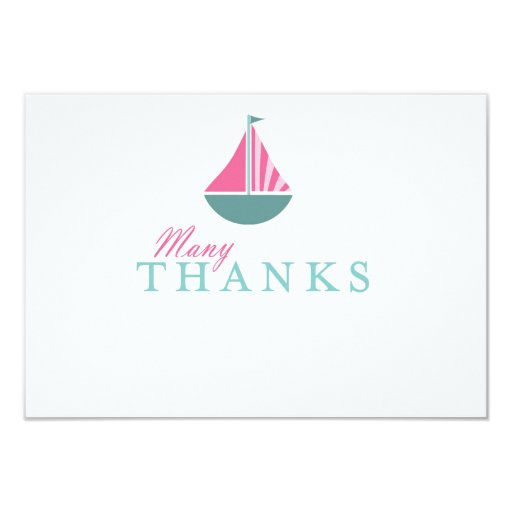 nautical sailboat girl baby shower flat thank you card zazzle
