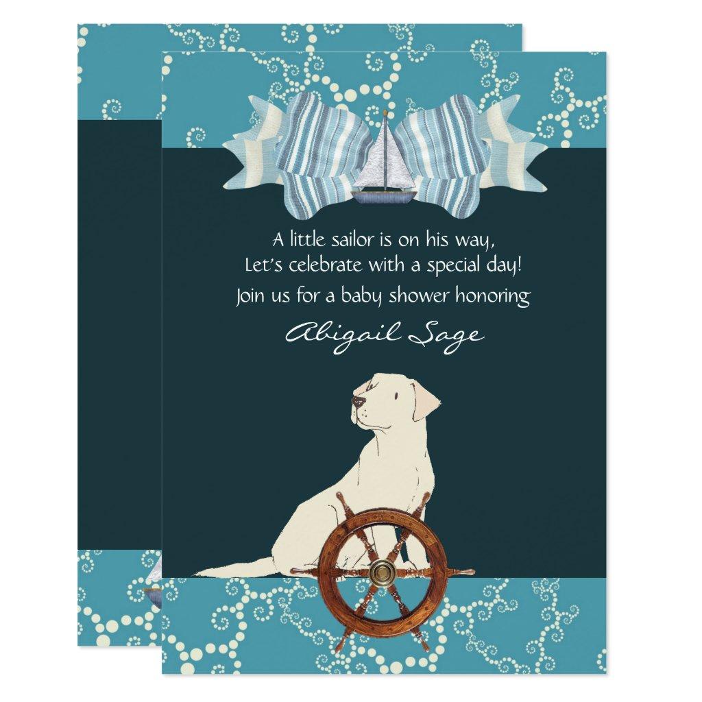 Nautical Sailboat Labrador Dog Baby Shower Invite
