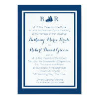 Nautical Sailboat Monogram Wedding Invitation