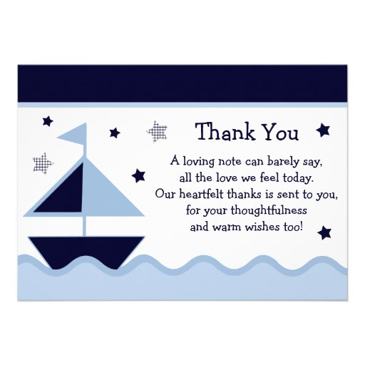 """Nautical/Sailboat/Navy Baby Shower Thank You Card 5"""" X 7 ..."""
