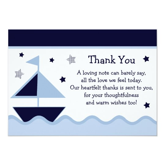 Nautical Sailboat Navy Baby Shower Thank You Card