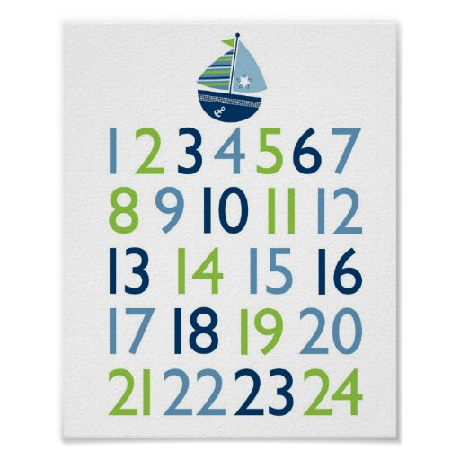 Nautical Sailboat Nursery Wall Art Print Numbers