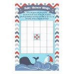 "Nautical Sailboat Ocean Whale Baby Shower Bingo 5.5"" X 8.5"" Flyer"
