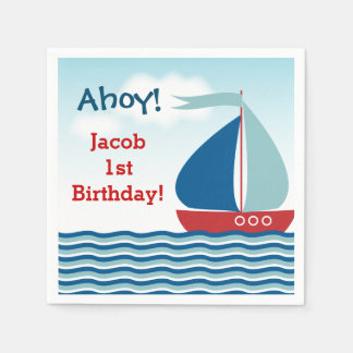 Nautical Sailboat on Water Boy Birthday Paper Napkin