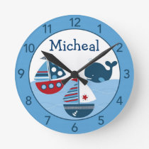 Nautical Sailboat Personalized Nursery Wall Clock