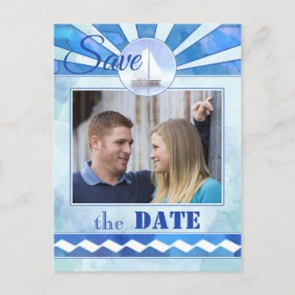 Nautical Sailboat Photo Save the Date Postcard