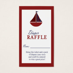 Nautical Sailboat Red & Blue Diaper Raffle Ticket at Zazzle