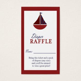 Nautical Sailboat Red & Blue Diaper Raffle Ticket
