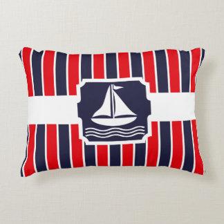 nautical sailboat red blue stripes pattern decorative pillow