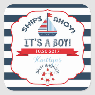 Nautical Sailboat Red Boy Baby Shower Label