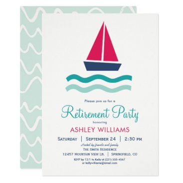 Beach Themed Nautical Sailboat Retirement Party Invitation