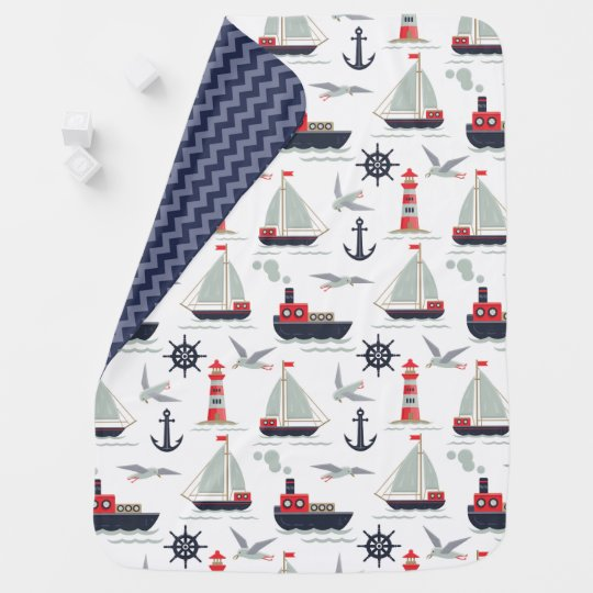 Nautical Sailboat Sailor Baby Boy Nursery Decor Blanket