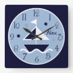 Nautical Sailboat & Stars Cute Kid's Baby Clock