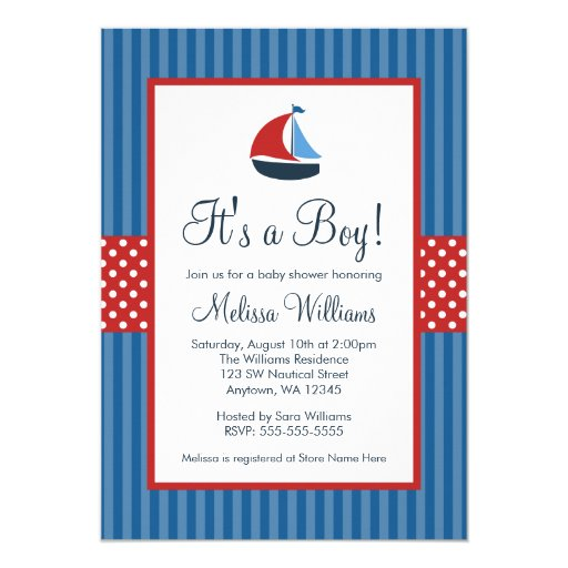 nautical sailboat stripes baby shower invitations zazzle