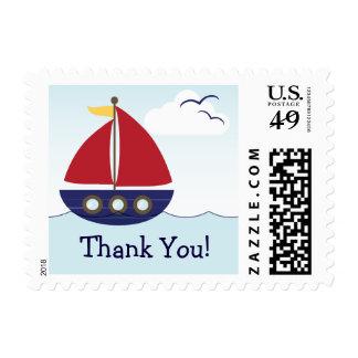 Nautical Sailboat Thank You Postage