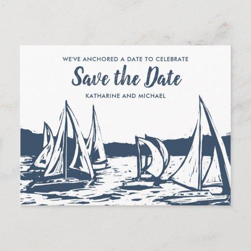 Nautical Sailboat Wedding Save the Date Announcement Postcard