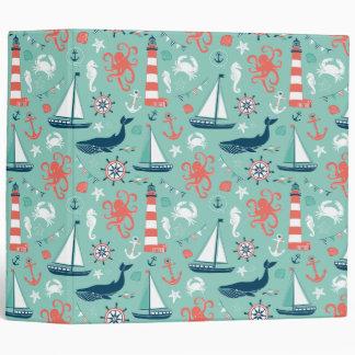 Nautical Sailboats And Whales Binder