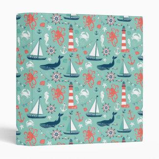 Nautical Sailboats And Whales 3 Ring Binder