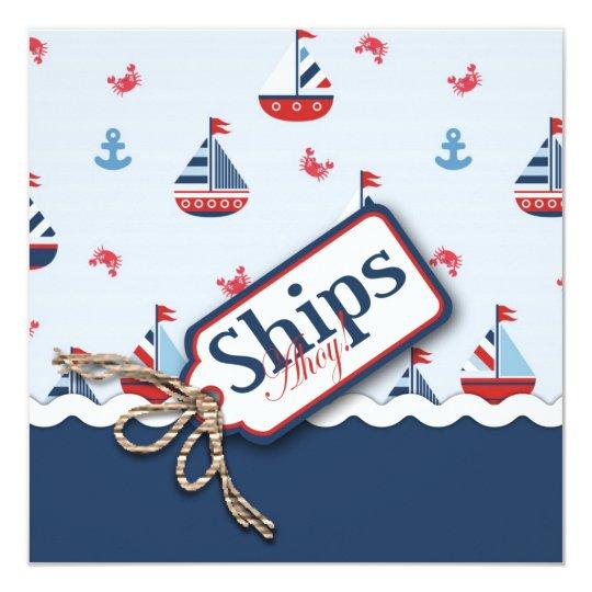 Nautical Sailboats Baby Shower Invitations