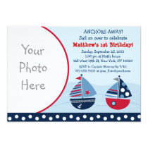 Nautical Sailboats Boy Photo Birthday Invitations