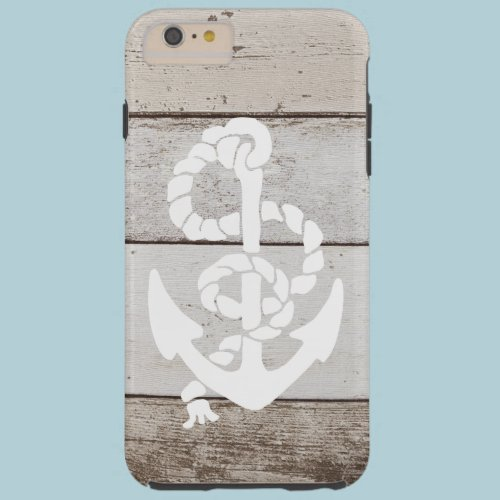 Nautical Sailing Anchor On Faux Wood -printed flat Tough iPhone 6 Plus Case