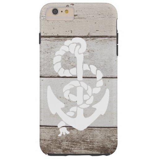 Nautical Sailing Anchor On Faux Wood -printed flat Tough iPhone 6 Plus Case