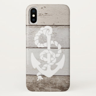 Nautical Sailing Anchor On Faux Wood -printed flat iPhone X Case