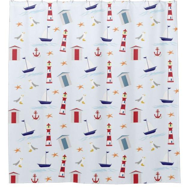 nautical sailing boat lighthouse beach hut pattern shower curtain zazzle
