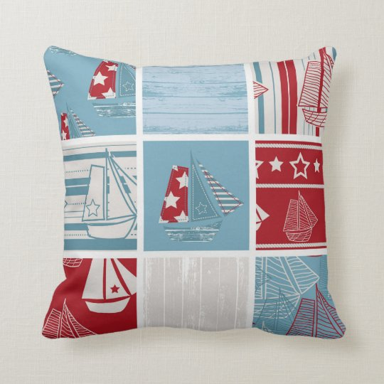 Nautical Sailing Boat Pillow