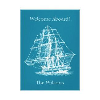 Nautical Sailing Tall Ship Vintage Canvas Print