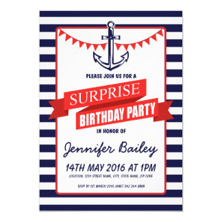 Nautical Sailor Anchor Bunting Surprise Birthday Card