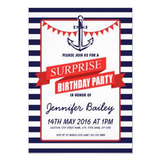 Nautical Sailor Anchor Bunting Surprise Birthday Card