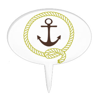 Nautical Sailor Anchor Line Rope Illustration Cake Topper