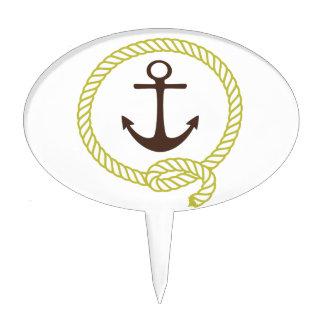 Nautical Sailor Anchor Line Rope Illustration Cake Topper