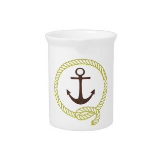 Nautical Sailor Anchor Line Rope Illustration Beverage Pitchers