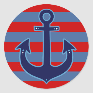 nautical sailor anchor & stripes classic round sticker