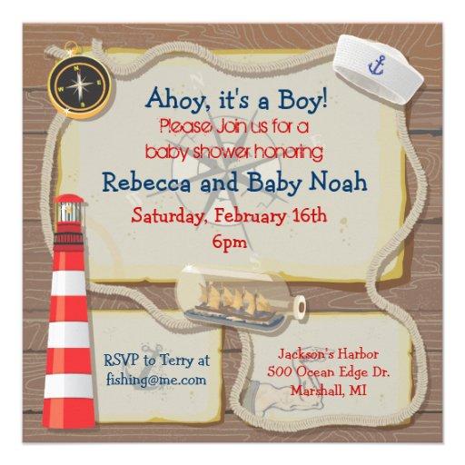 nautical sailor baby shower invitations square invitation card