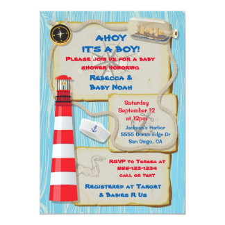 Nautical Sailor Baby Shower party invitation