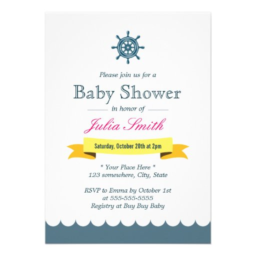 nautical sailor helm wheel baby shower invitations zazzle