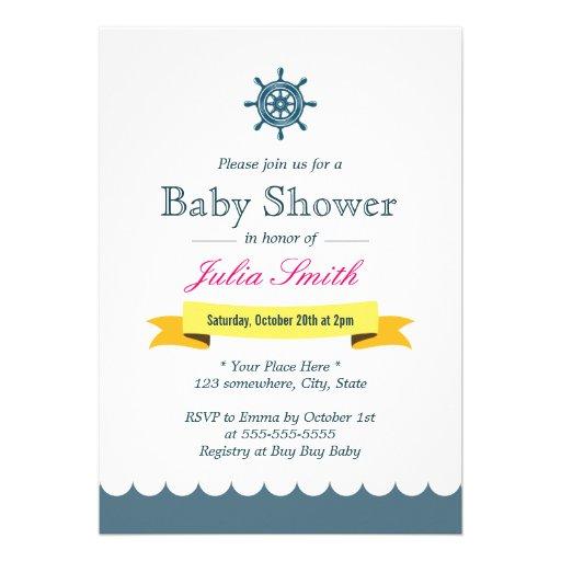 nautical sailor helm wheel baby shower invitations zazzle