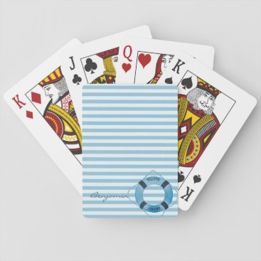 Nautical Sailor Lifebelt,Striped- Personalized Playing Cards