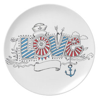 Nautical Sailor Love Doodle Drawing Plate